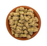 Crumbled Italian sausage in a small bowl top view Royalty Free Stock Images