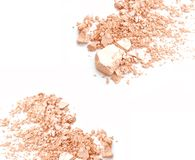 Crumbled natural powder make up on white background. Crumbled natural powder make up on white background Royalty Free Stock Images