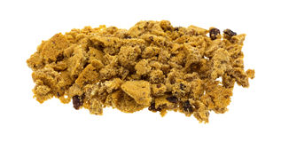 Crumbled oatmeal raisin cookies on white background Stock Images