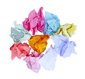 Crumbled Paper. Colorful crumbled office paper isolated on white Royalty Free Stock Photos