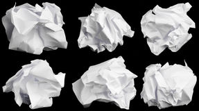 Crumbled up paper. Crumbled up paper isolated on black background Royalty Free Stock Photography