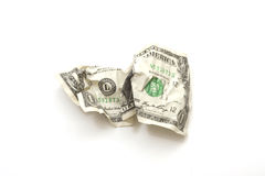 Crumbled USA Dollar. Crumbled up USA one dollar bill Stock Photography