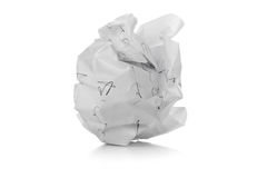 Crumbled white paper ball with pencil writing on white backgroun Royalty Free Stock Photos