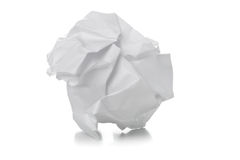 Crumbled white paper ball on white background Royalty Free Stock Image