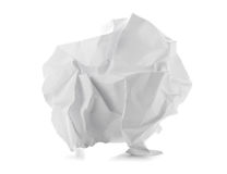 Crumbled white paper ball on white background Stock Images
