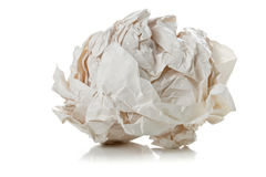 Crumbled white paper ball on white background Royalty Free Stock Photo