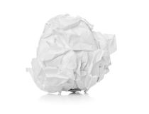 Crumbled white paper ball on white background Stock Photo