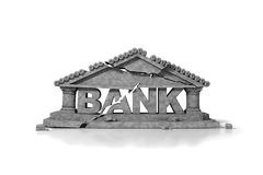 Crumbling bank text with cracks Royalty Free Stock Photography