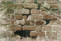 Crumbling brick wall with grunge effect Royalty Free Stock Photos
