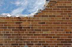 Crumbling brick wall with sky Stock Image