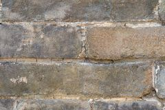 Crumbling Brick Wall Texture. Close up of an old, crumblingbrick wall revealing it`s scratched surface Royalty Free Stock Photos