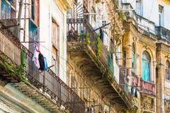 Crumbling buildings in Old Havana Royalty Free Stock Photos