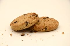 Crumbling Chocolate Chip Cookies Close-up Royalty Free Stock Photography