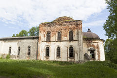 Crumbling Church of Resurrection in village Lipki, Vologda region, Russia Royalty Free Stock Images