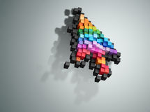 Crumbling cursor color pixel computer mouse Royalty Free Stock Photos