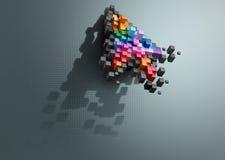 Crumbling cursor color pixel computer mouse Stock Photos