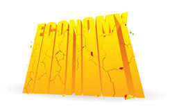 Crumbling Economy. Golden economy word blocks crumbling and breaking apart vector illustration