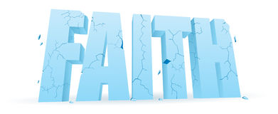 Crumbling Faith. Faith word blocks full of cracks crumbling vector illustration