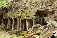 Crumbling Gallery, Banteay Kdei Temple Royalty Free Stock Photo