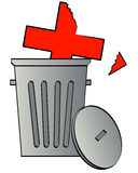 Crumbling health care. Damaged health care symbol tossed in the garbage - vector Royalty Free Stock Image