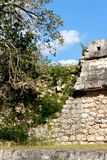 Crumbling Mayan Wall at Chichen Itza Portrait Royalty Free Stock Photography