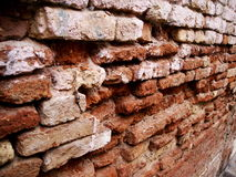 Crumbling Red Brick Wall Detail Stock Images