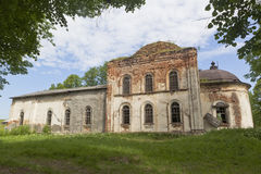 Crumbling remnants temple of the Resurrection in village Lipki, Verhovazhskogo district, Vologda region Royalty Free Stock Photography