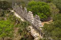 Mayan structure ruins at Uxmal Mexico. Crumbling ruins at the Unesco world heritage site of Uxmal Mexico stock photos