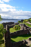 Crumbling Stone Ruins of Urquhart Castle in Scotland Royalty Free Stock Photos