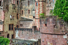 Crumbling Stone Walls of Heidelberg Castle Stock Images