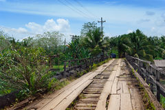 Crumbling tropical bridge Stock Photos