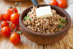 Crumbly buckwheat with butter Royalty Free Stock Images