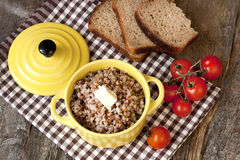Crumbly buckwheat with butter, food healthy Royalty Free Stock Photography