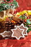 Crumbly chocolate Christmas cookies with ginger Stock Images