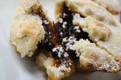 Crumbly Christmas Mince Pie with Filling Exposed Royalty Free Stock Image