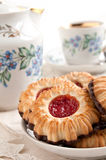 Crumbly cookies with jam Stock Images