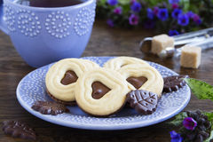 Crumbly shortbread with chocolate stock photo