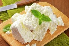 Crumbly white cheese Royalty Free Stock Photography