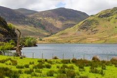 Crummock woda i widok górski, Jeziorny Gromadzki obywatel, Cumbria obraz stock