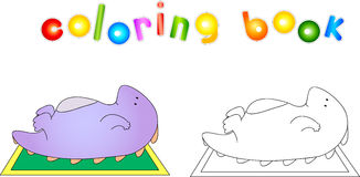 Crummy bellied dragon doing abdominal exercises. Coloring book a. Bout healthy lifestyle for children. Vector illustration Stock Image