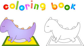 Crummy bellied dragon doing exercises. Coloring book about healt Royalty Free Stock Photo