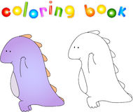 Crummy bellied dragon doing exercises. Coloring book about healt Stock Images