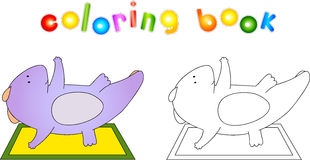 Crummy bellied dragon doing exercises. Coloring book about healt Royalty Free Stock Image