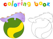 Crummy bellied dragon doing exercises on the fitness ball. Color Stock Images