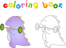 Crummy bellied dragon doing exercises: lifting weights. Coloring Stock Photo
