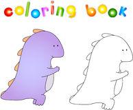 Crummy bellied dragon doing exercises of squats. Coloring book a Royalty Free Stock Photo