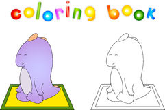 Crummy bellied dragon doing yoga exercises. Coloring book about Stock Images