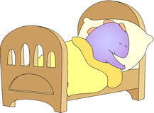 Crummy bellied dragon is sleeping in his crib Royalty Free Stock Photography