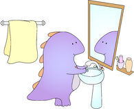 Crummy bellied dragon is washing his hands Royalty Free Stock Photo
