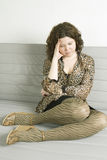 Crummy  girl wearing  leopard`s dress Royalty Free Stock Images